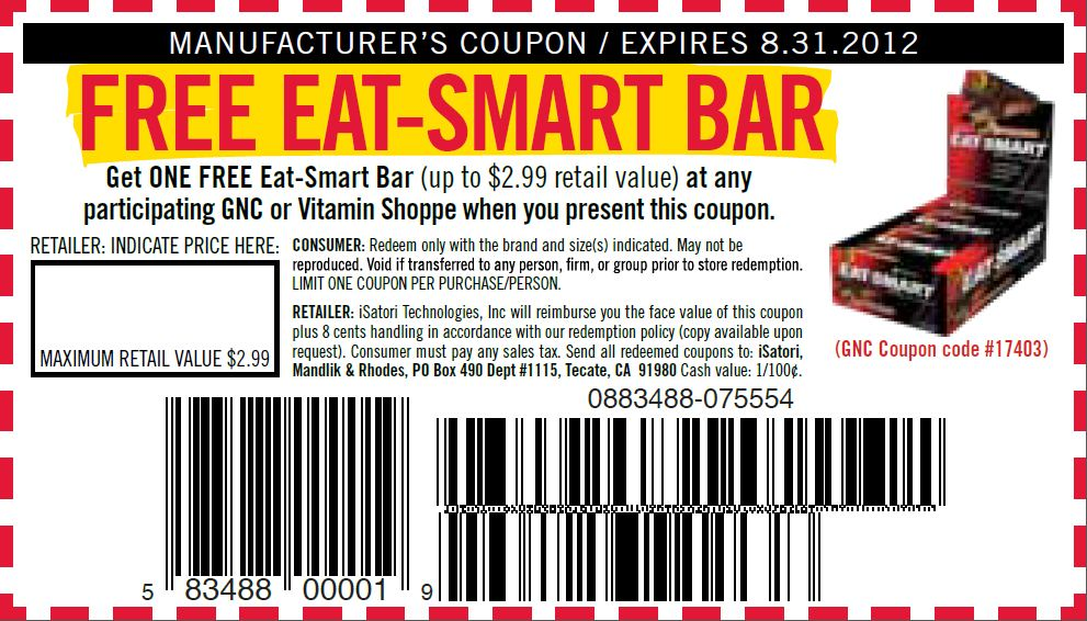 free eat smart protein bar GNC Vitamin