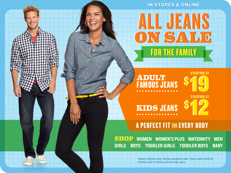 adult jeans sale $19 kids jeans $12 start 8/23 online coupon code 25% off