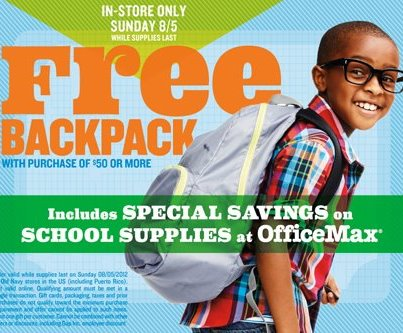 old navy free backpack coupon tax free days offer sales deals in-store