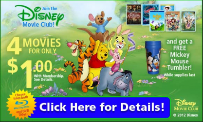 4 Disney movies for only $1 + Free Shipping join Disney Movie Club.