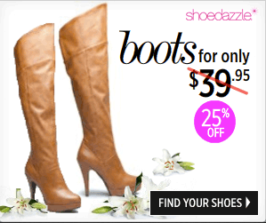 save 25% on your purchase at shoedazzle